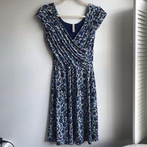 Gilli Blue Floral & Paisley Faux Wrap Dress